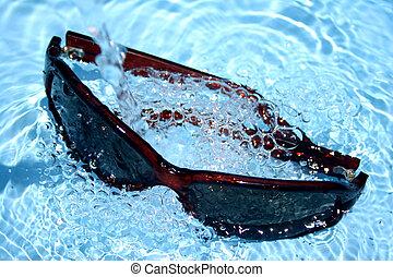 napszemüveg, alatt, víz