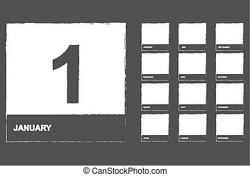 naptár, állhatatos, ikonok