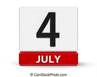 naptár, kikövez, july 4