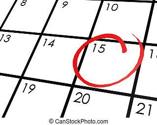 naptár, nap, 15, bekerített