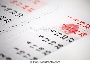 naptár, oldal, noha, a, piros, csókol, képben látható, february 14, közül, szent, valentines, day.