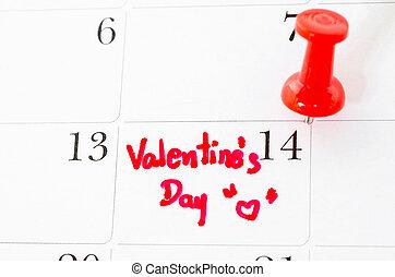naptár, oldal, noha, a, piros, hearts.