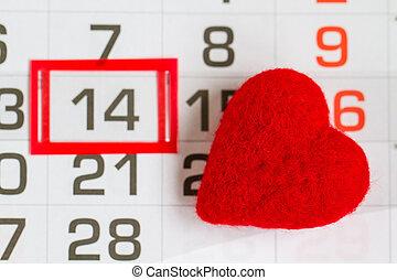 naptár, szív, piros, szent, oldal, nap, valentines