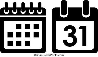 naptár, vektor, ikon