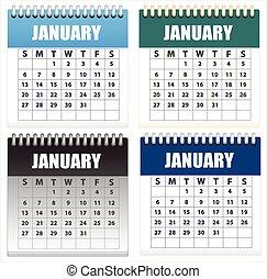 naptárak, vektor, állhatatos