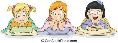 Naptime Girls - Illustration of a Group of Girls Preparing...