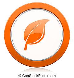 narancs, aláír, levél növényen, természet, ikon