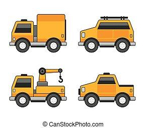 narancs, autó, set., vektor, ikonok