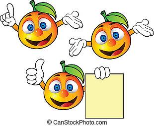 narancs, betű, karikatúra