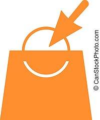 narancs, bolt, megvesz, táska, ikon