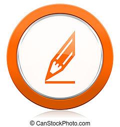 narancs, ceruza, rajzol, ikon, aláír