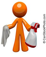narancs, ember, közegészségügy munkás, permetezőpalack, és,...