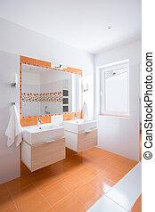 narancs, fényes, fürdőszoba