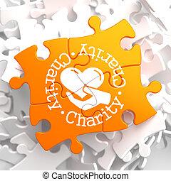 narancs, fogalom, puzzle., jótékonyság