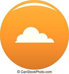narancs, gomolyfelhő, vektor, kacs, ikon
