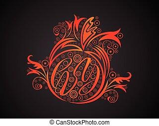 narancs, kreatív, elvont, virágos