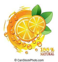 narancs, levél növényen, szelet