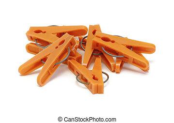 narancs, műanyag, ruhaszárító csipeszek