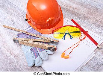 narancs, nehéz kalap, earplug, védőszemüveg, és, pár kesztyű, helyett, work., earplug, to redukál, zaj, képben látható, egy, fehér, háttér.