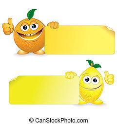 narancs, noha, citrom