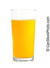 narancs, pohár, fehér, elszigetelt, lé