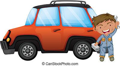 narancs, rögzítő, ember, autó