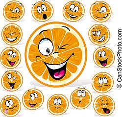 narancs, sok, kifejezések, karikatúra