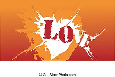 narancs, szív, jelkép, szeret, támad
