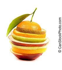 narancs szelet, zöld alma, piros