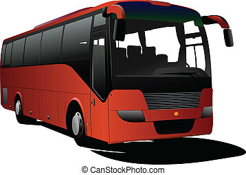 narancs, természetjáró, bus., vektor, coach.