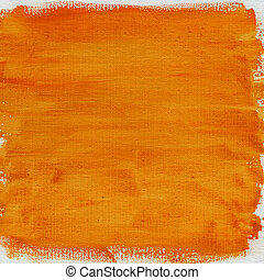 narancs, vízfestmény, elvont, noha, vászon, struktúra