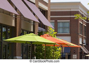 narancs, zöld, esernyők