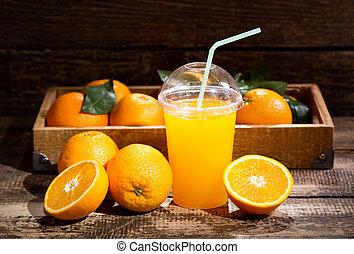 narancslé, gyümölcs, friss, pohár