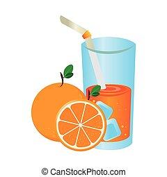 narancslé, gyümölcs, ikon