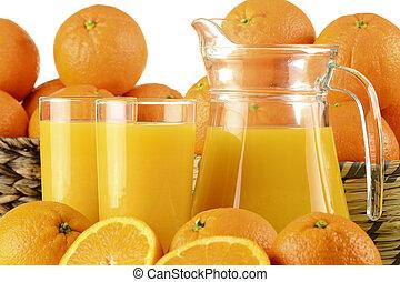 narancslé, szemüveg, gyümölcs