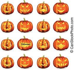 naranja, 3d, halloween, calabazas, set.