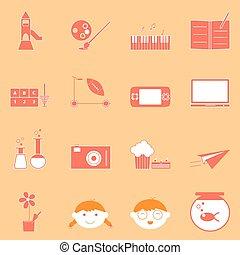 naranja, actividades, conjunto, niño, iconos