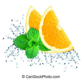 naranja, agua, salpicadura