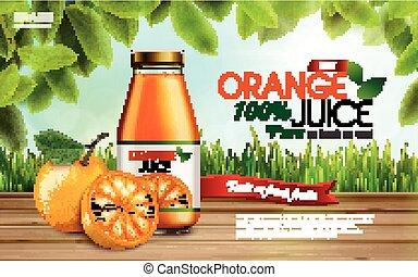 naranja, anuncio, jugo