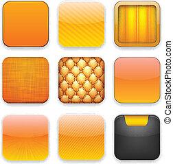 naranja, app, icons.