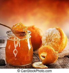 naranja, atasco, casero