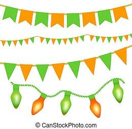 naranja, banderitas, verde, festivo