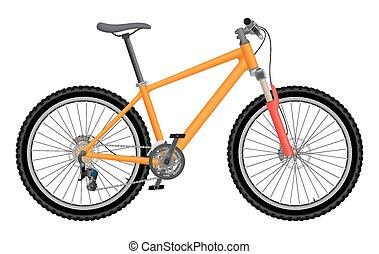 naranja, bicicleta, vector