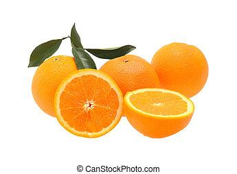 naranja, blanco, aislado, plano de fondo