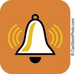 naranja, blanco, dibujo, plano de fondo, campana
