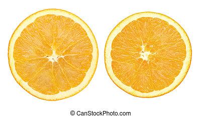 naranja, blanco, rebanada, dos, aislado
