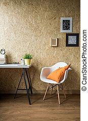 naranja, blanco, silla, cojín