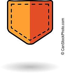 naranja, bolsillo, vector, icono