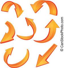 naranja, brillante, flecha, iconos