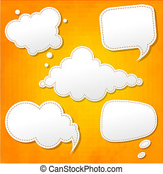 naranja, burbujas, conjunto, discurso, plano de fondo